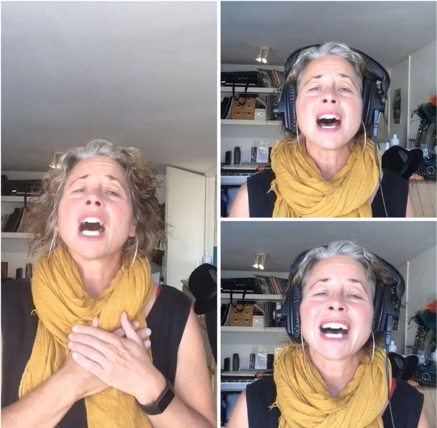 Split screen image of Claire Ingleheart singing 3 parts of song.