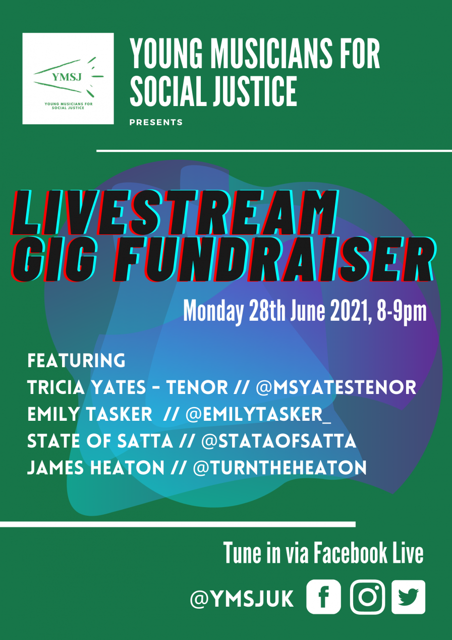 Livestream Gig Fundraiser Featuring Tricia Yates, Emily Tasker, State of Satta and James Heaton