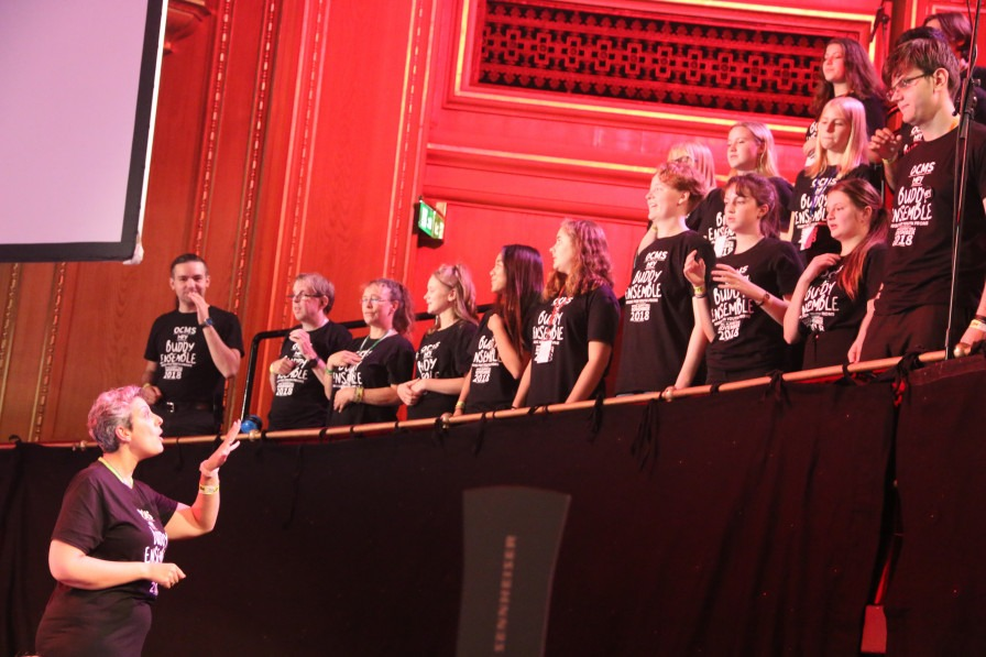 Youth Handy Voices and Volunteers performing at the Royal Albert Hall as part of the Oxfordshire County Music Service's 'Buddy Choir'