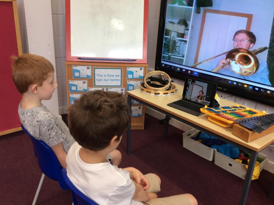 A classroom music session with a Live Music Now musician via Zoom
