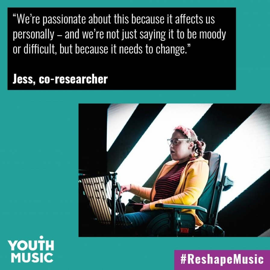 Picture of Reshape Music co-researcher who says 'we're passionate about this because it affects us personally - we're not just saying it to be moody or difficult, it's because it needs to change'.