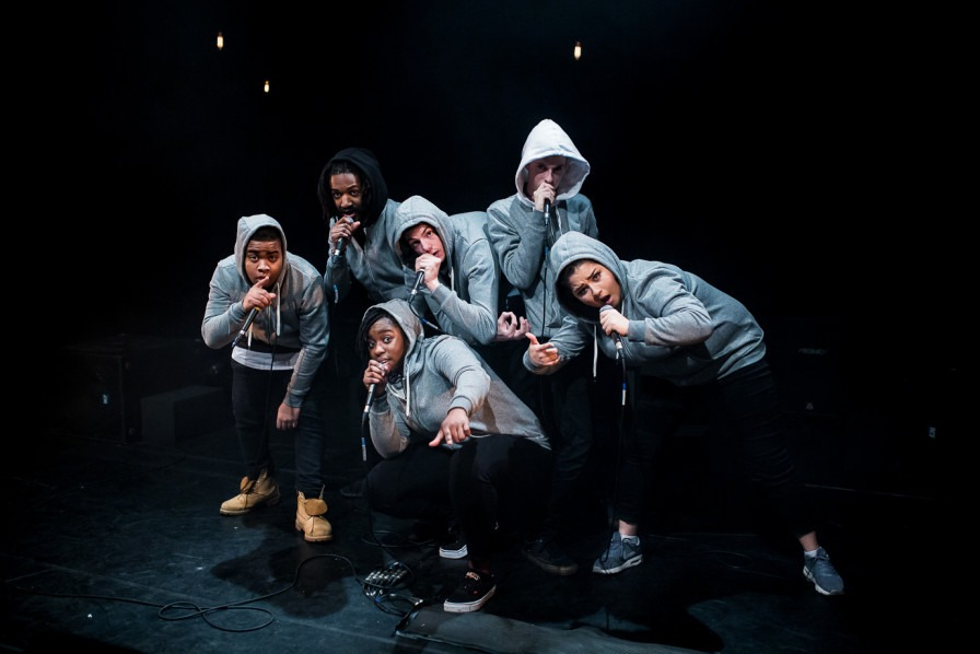 A group of beatboxers performing in Frankenstein: Making of a Monster at Battersea Arts Centre