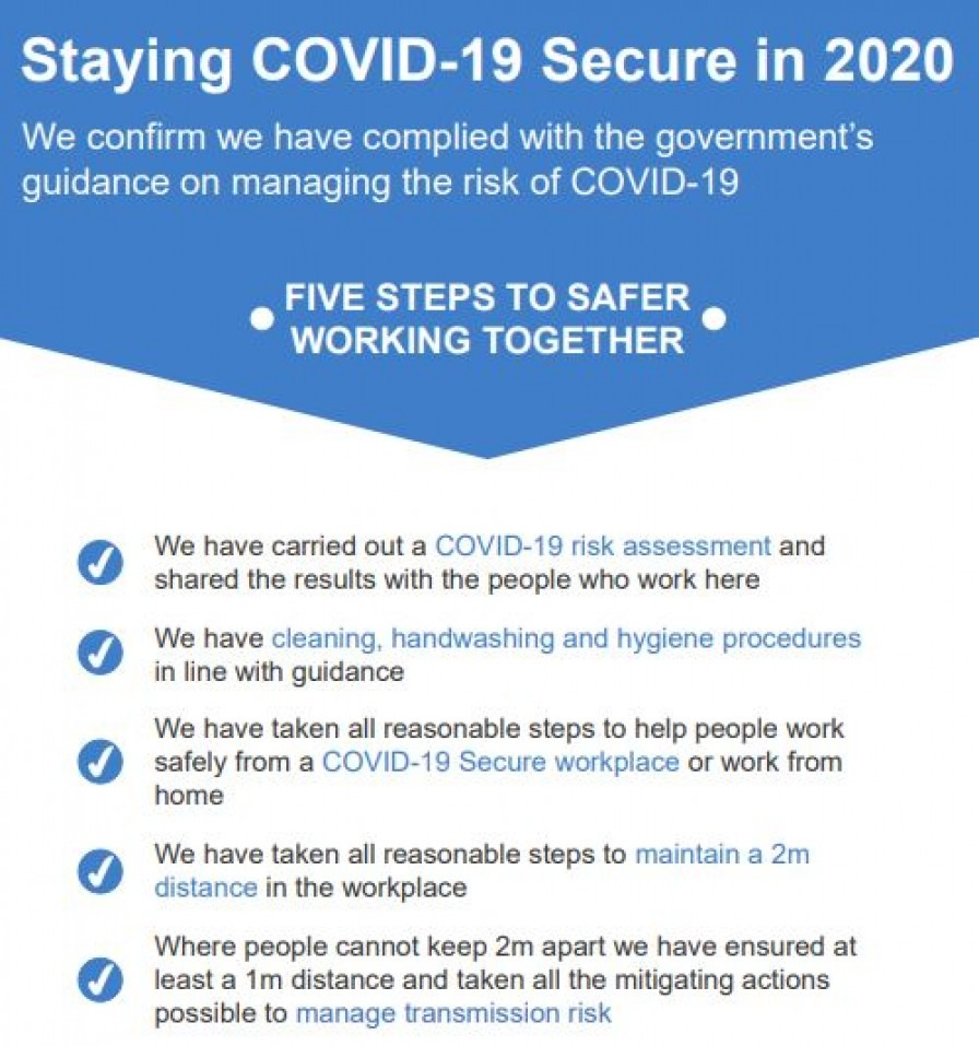 A government posting listing the 5 tips for being covid-secure